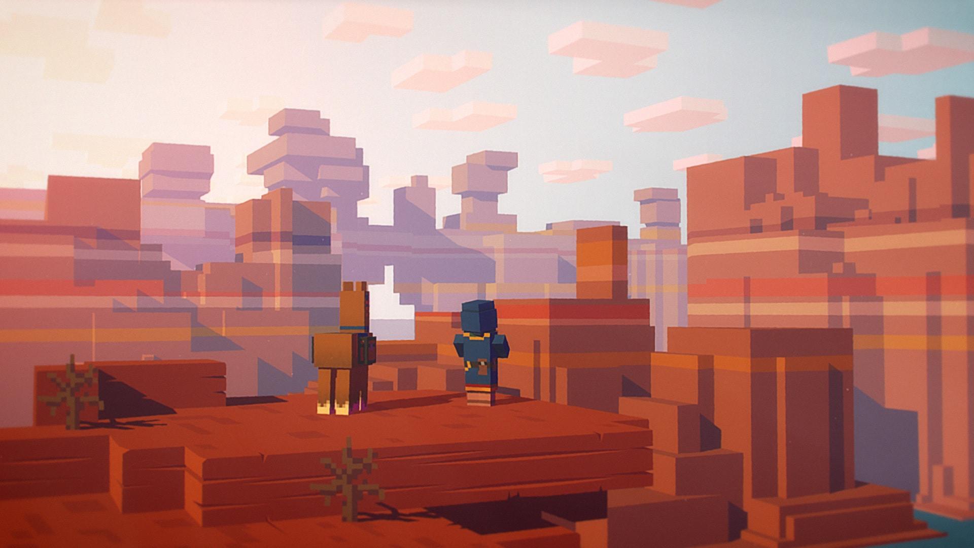 Huvud karaktär tittar ut över landskap